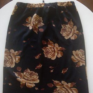 Women's Black and Brown Knee Length Skirt